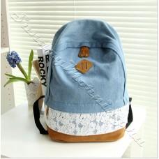 Джинсовый женский рюкзак Ariel с кружевной отделкой